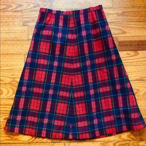 Vintage Plaid Wool Pendleton Skirt